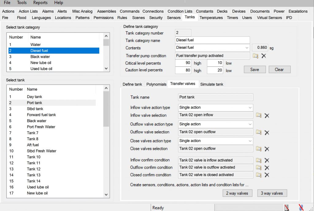 Configuration Manager tanks tab